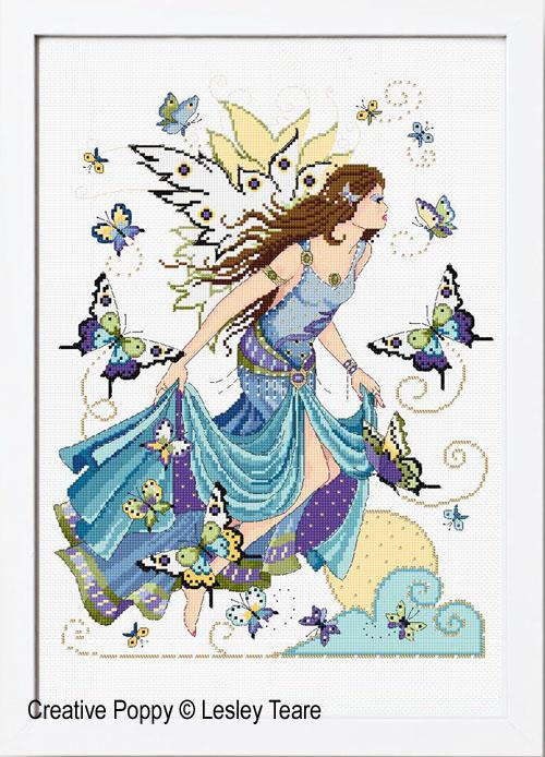 La fée de l'Aube, grille de broderie, création Lesley Teare