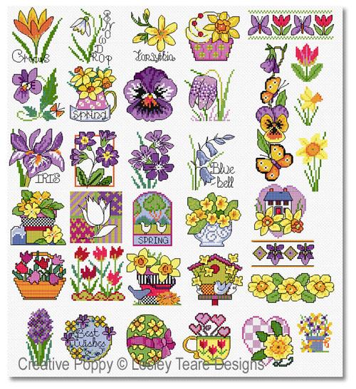 30 mini motifs de printemps, grille de broderie, création Lesley Teare