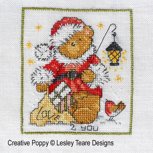 Oursons de Noël, grille de broderie, création Lesley Teare