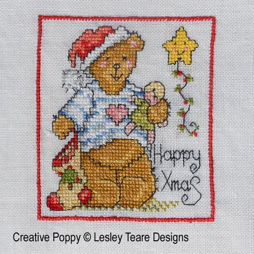 Oursons de Noël broderie point de croix, création Lesley Teare, zoom2