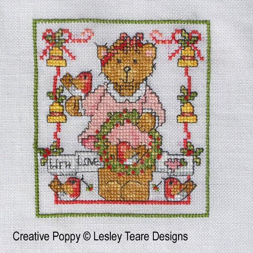 Oursons de Noël broderie point de croix, création Lesley Teare, zoom3
