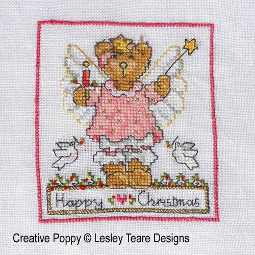 Oursons de Noël broderie point de croix, création Lesley Teare, zoom1