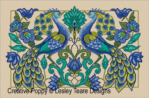 Fiers Paons, grille de broderie, création Lesley Teare