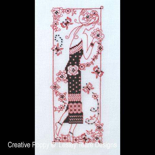 Lady en Blackwork, grille de broderie, création Lesley Teare