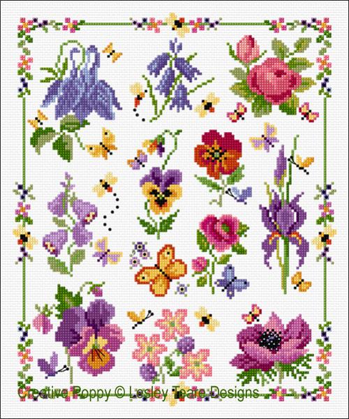 Marquoir 12 fleurs, grille de broderie, création Lesley Teare