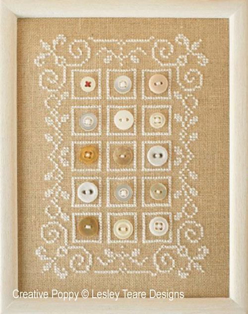 Marquoir aux boutons, grille de broderie, création Lesley Teare
