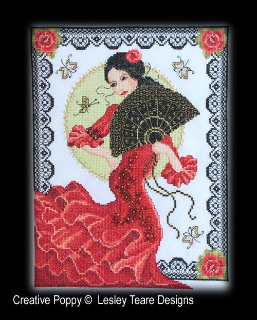 Danseuse Espagnole, grille de broderie, création Lesley Teare
