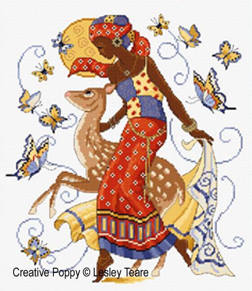 Beauté Africaine, grille de broderie, création Lesley Teare