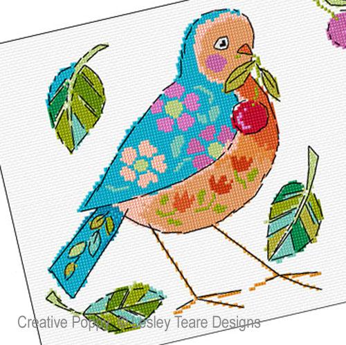 Duo d'oiseaux, grille de broderie, création Lesley Teare