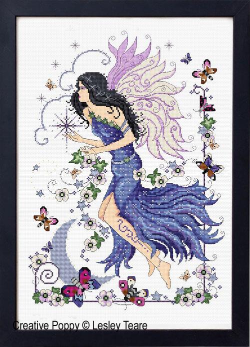 La fée du Crépuscule, grille de broderie, création Lesley Teare