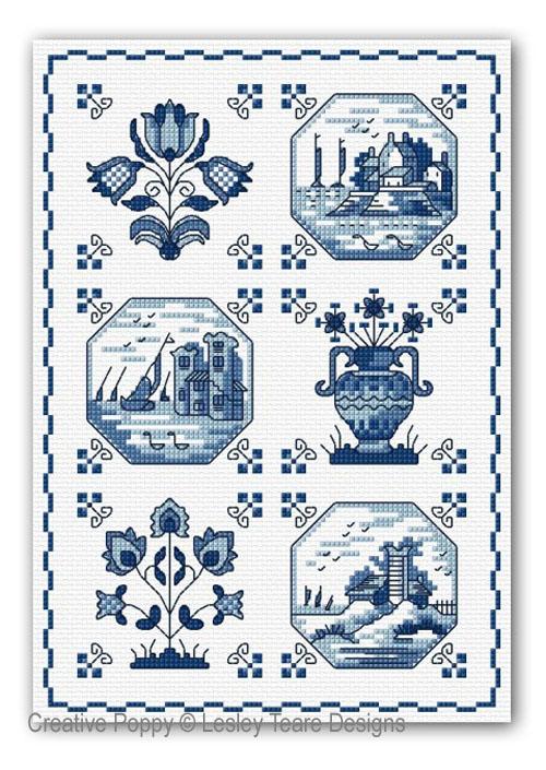 Faïence de Delft, grille de broderie, création Lesley Teare