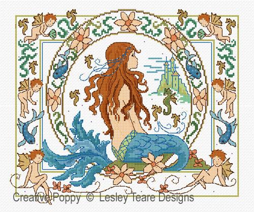 La petite sirène, grille de broderie, création Lesley Teare