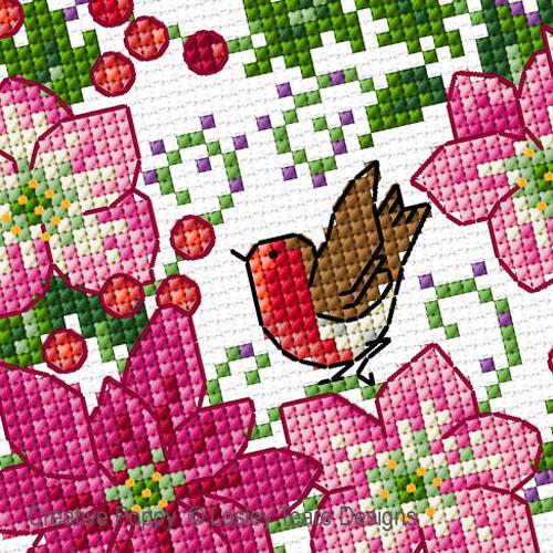 Fleurs de décembre, grille de broderie, création Lesley Teare