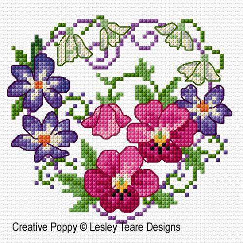 Fleurs de février, grille de broderie, création Lesley Teare