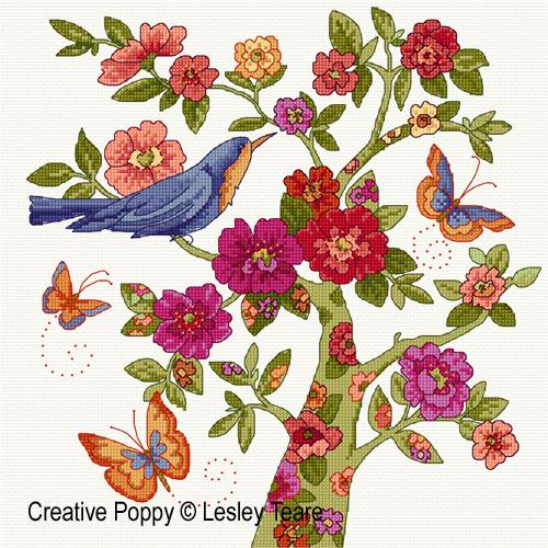L'arbre floral, grille de broderie, création Lesley Teare