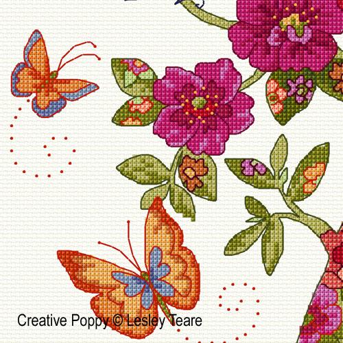Lesley Teare - Arbre floral (grille broderie point de croix)