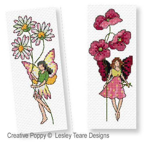 Les fées fleurette broderie point de croix, création Lesley Teare, zoom3