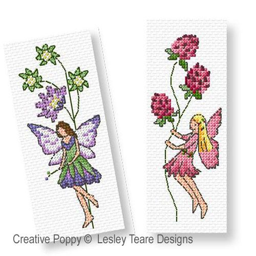 Les fées fleurette broderie point de croix, création Lesley Teare, zoom2