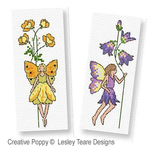 Les fées fleurette broderie point de croix, création Lesley Teare, zoom1