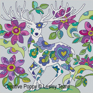 Le grand cerf blanc, grille de broderie, création Lesley Teare