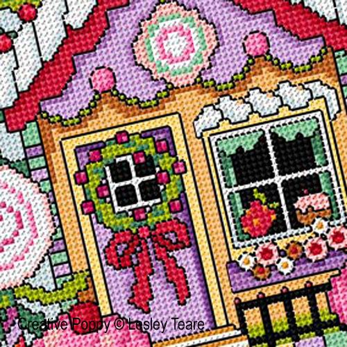 Lesley Teare - Maison de pain d'épice, zoom 1 (grille de broderie point de croix)