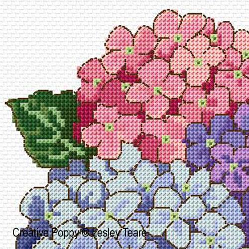 Bouquet d'hortensias, grille de broderie, création Lesley Teare