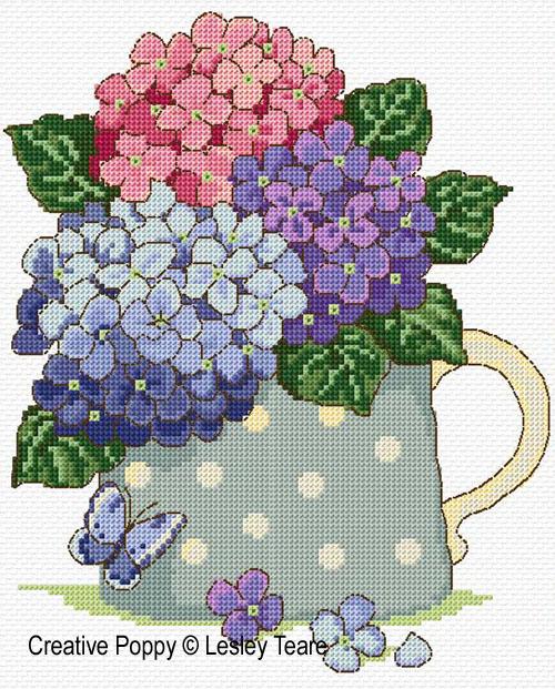 Lesley teare bouquet d 39 hortensias grille broderie point - Broderie point de croix grilles gratuites fleurs ...