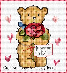 Cartes 4 motifs oursons - Fêtes , grille de broderie, création Lesley Teare
