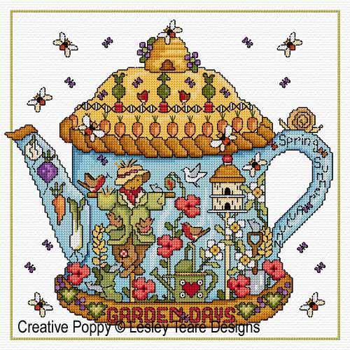 Journée au jardin, grille de broderie, création Lesley Teare