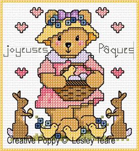 Lesley Teare - Cartes de voeux oursons - Fêtes, zoom 1 (grille de broderie point de croix)
