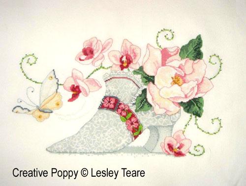 Soulier de dentelle, grille de broderie, création Lesley Teare
