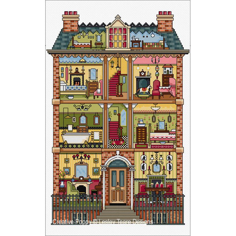 Maison de poupée Victorienne, grille de broderie, création Lesley Teare