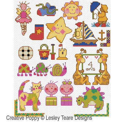 Mini motifs pour petits enfants, grille de broderie, création Lesley Teare