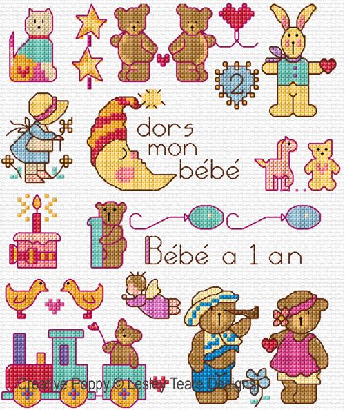 Mini motifs pour les tous petits, grille de broderie, création Lesley Teare