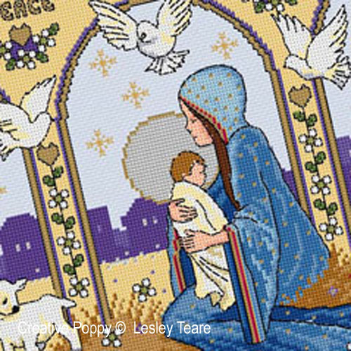 Nativité, grille de broderie, création Lesley Teare