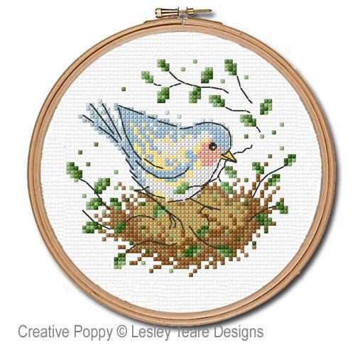 Le nid d'oiseau, grille de broderie, création Lesley Teare