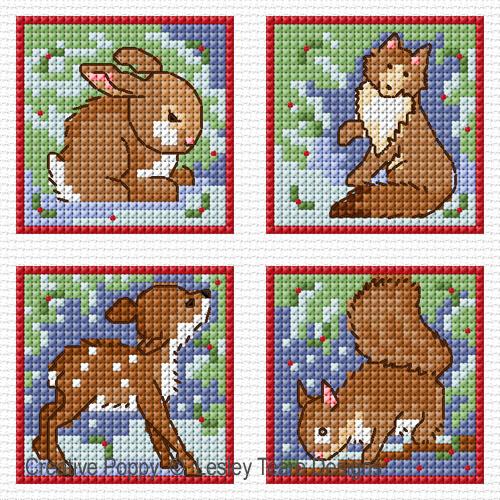 Le Noël dans la nature, grille de broderie, création Lesley Teare Designs