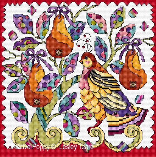 La perdrix (The partridge in the Pear tree), grille de broderie, création Lesley Teare