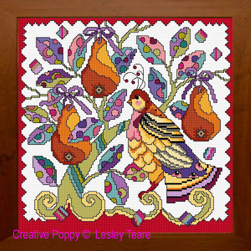 La perdrix (The partridge in the Pear tree) broderie point de croix, création Lesley Teare , zoom1