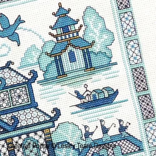 Paysage oriental bleu - 2, création Lesley Teare, zoom 1