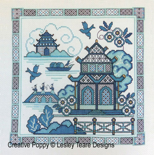 Paysage oriental bleu - 1, grille de broderie, création Lesley Teare