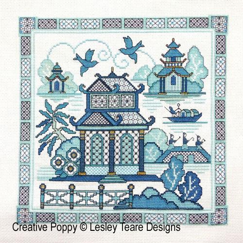 Paysage oriental bleu - 2, grille de broderie, création Lesley Teare