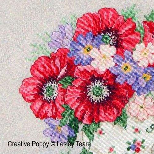 Bouquet de coquelicots, grille de broderie, création Lesley Teare