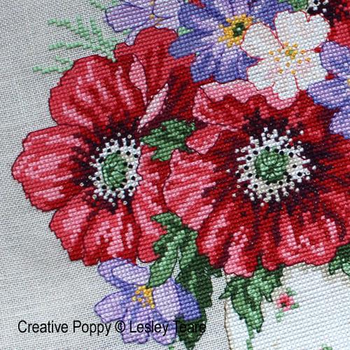 Lesley Teare - Bouquet de coquelicots, zoom 1 (grille de broderie point de croix)