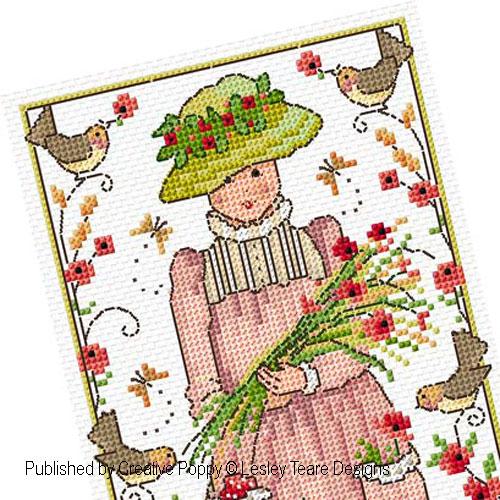 Jeune fille aux coquelicots, grille de broderie, création Lesley Teare