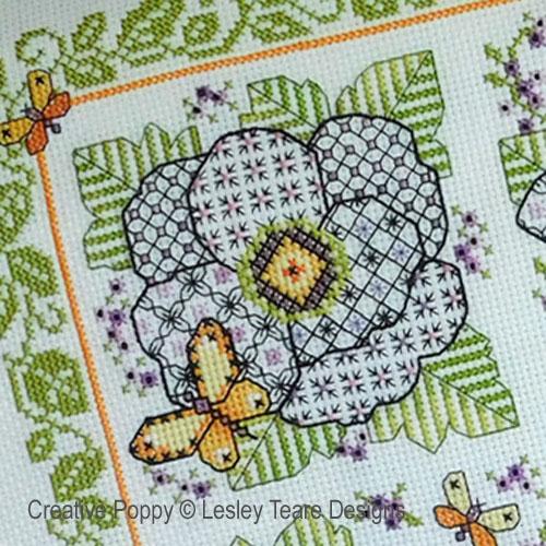 Quatre fleurs en Blackwork, grille de broderie, création Lesley Teare