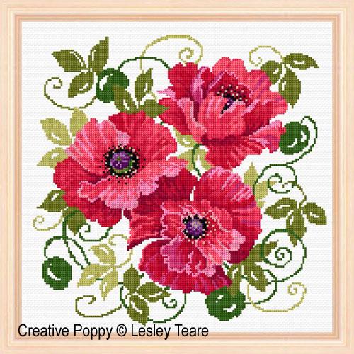 Lesley Teare - Coquelicots (grille de broderie point de croix)