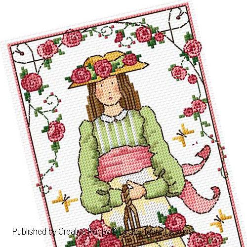 La jeune fille aux Roses, grille de broderie, création Lesley Teare