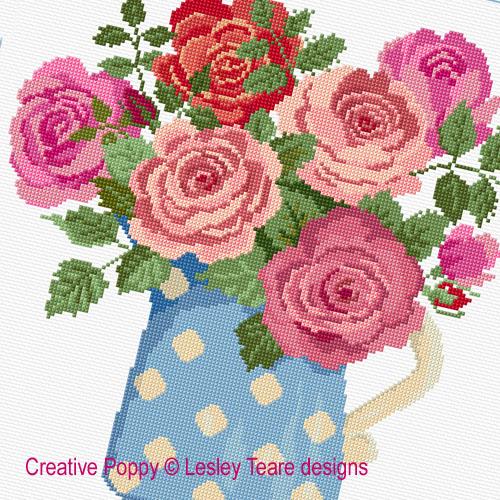 Lesley Teare - Roses au pot bleu (grille broderie point de ...
