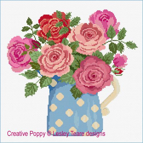 Roses au pot bleu, grille de broderie, création Lesley Teare